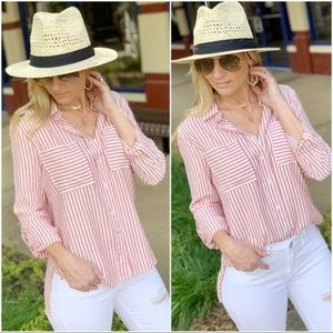 Red Striped Roll Tab Sleeve Button Down Tunic